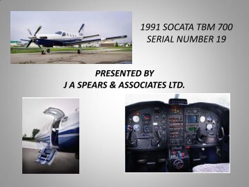 1991 socata tbm 700 serial number 19 - J A Spears and Associates