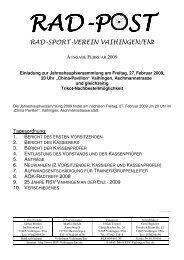 Radpost Februar 2009 - RSV Vaihingen an der Enz