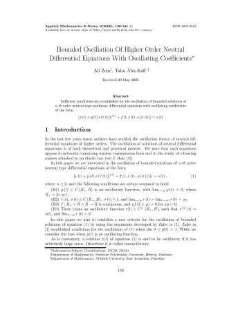 Bounded Oscillation Of Higher Order Neutral Differential Equations ...