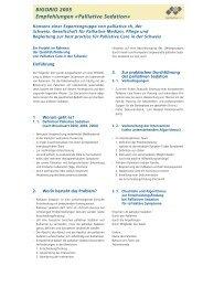 BIGORIO 2005 Empfehlungen «Palliative Sedation» - Palliative ch