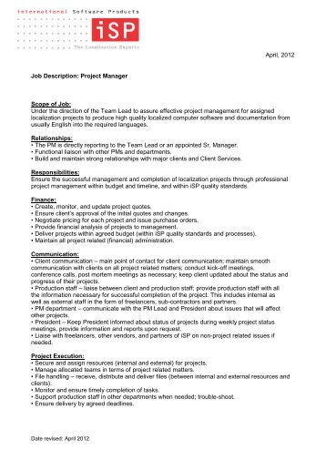 Project Manager Job Description Project Manager Job Description