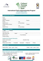 International Chef's Apprenticeship Program - Egyptian Chefs ...