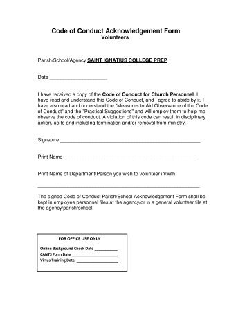 Acknowledgement of Responsibility form