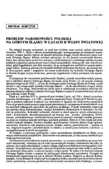 Problem narodowości polskiej na Górnym Śląsku w latach II wojny ...