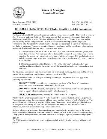 Adult Slow- Pitch Softball League Rules - City of Syracuse