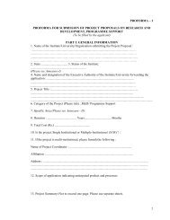 I PROFORMA FOR SUBMISSION OF PROJECT PROPOSALS ON ...
