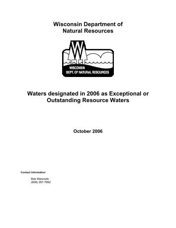 Waters designated in 2006 as Exceptional or Outstanding Resource ...