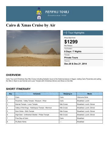 Cairo & Xmas Cruise by Air - Memphis Tours Egypt