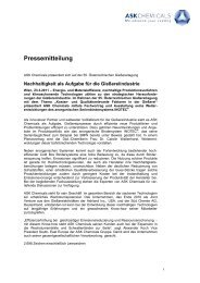 Pressemitteilung - ASK Chemicals