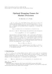 Optimal Stopping Games for Markov Processes - School of ...