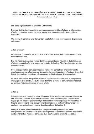 convention sur la compétence du for contractuel en cas de vente a ...