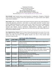haftalık ders programı - Sosyal Hizmetler - Hacettepe Üniversitesi