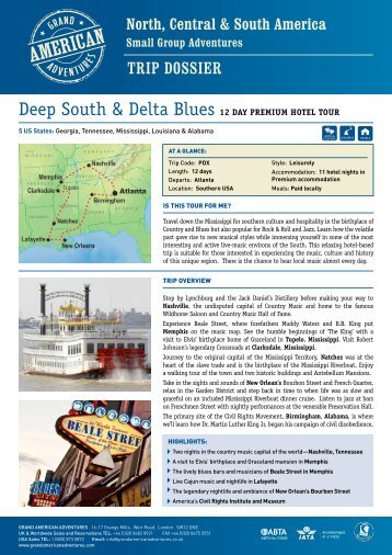 Deep South & Delta Blues Premium - Adventure holidays
