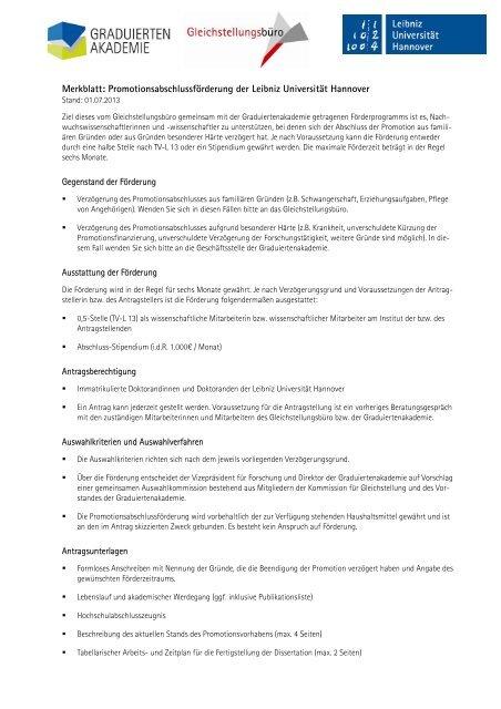 stipendium beendigung dissertation