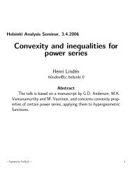Convexity and inequalities for power series - Helsinki.fi