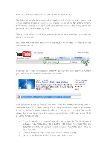 How to Download Videos from YouTube and Extract ... - Clone2Go