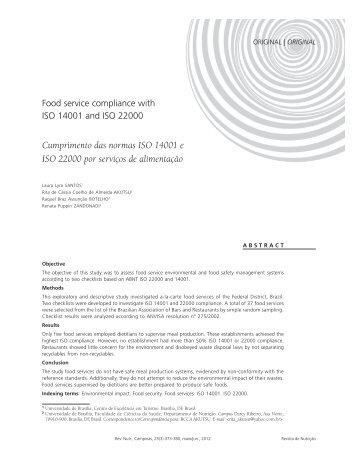 Cumprimento das normas ISO 14001 e ISO 22000 por serviços de ...