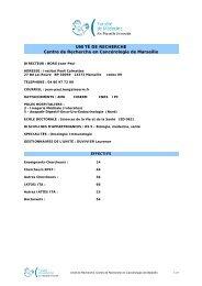 UNITÉ DE RECHERCHE Centre de Recherche en Cancérologie de ...