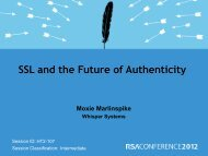 SSL and the Future of Authenticity - RSA Conference