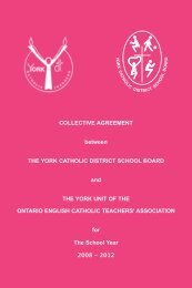 OECTA Collective Agreement - the York Catholic District School Board