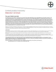 Limited product warranty Makrolon® LD sheet - Sheffield Plastics