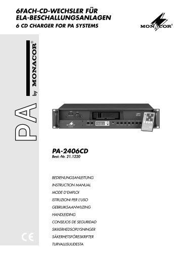 6fach-cd-wechsler für ela-beschallungsanlagen pa-2406cd
