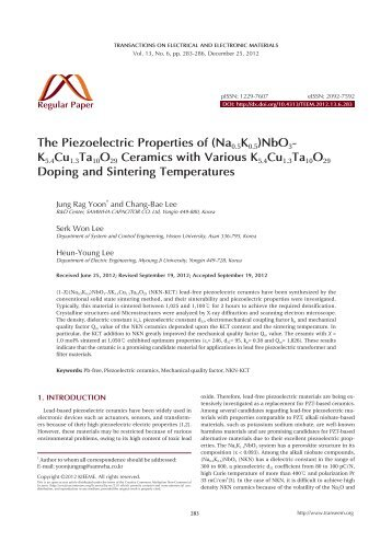 The Piezoelectric Properties of (Na0.5K0.5)NbO3- K5.4Cu1 ...