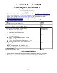 Virginia WIC Program - Office of Family Health Services
