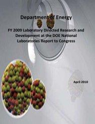 FY 2009 LDRD Report to Congress - U.S. Department of Energy