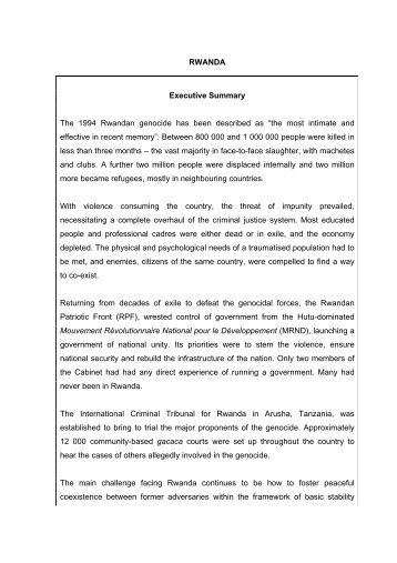 RWANDA Executive Summary The 1994 Rwandan genocide has ...