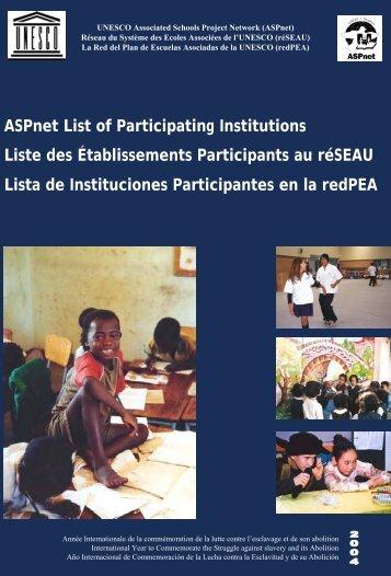 ASPnet list of participating institutions; 2004 - unesdoc - Unesco