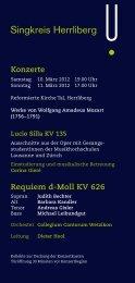 Konzerte - Singkreis Herrliberg
