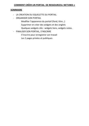 COMMENT CRÉER UN PORTAIL DE RESSOURCES« NETVIBES ...