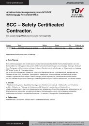 SCC – Safety Certificated Contractor. - TÜV Austria Akademie