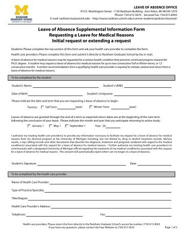 Reinstatement Supplemental Information Form For Leave Of Absence