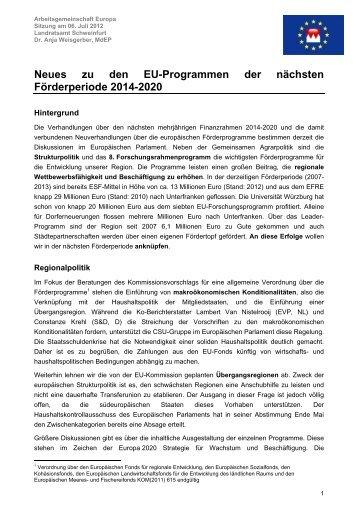 Neues zu den EU-Programmen der nächsten Förderperiode 2014 ...