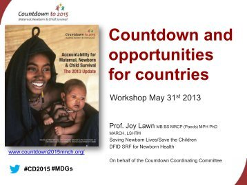 Countdown and opportunities for countries - Countdown to 2015