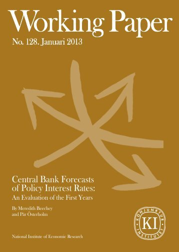 Central Bank Forecasts of Policy Interest Rates - Konjunkturinstitutet