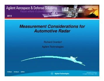 Measurement Considerations for Automotive Radar - Microwave Journal
