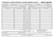 tamworth junior football league season 2009/10 match report