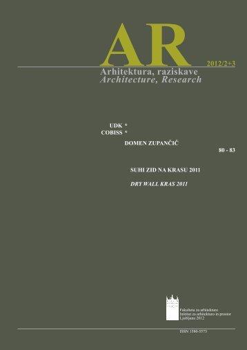 Arhitektura, raziskave Architecture, Research - ICOMOS Open Archive