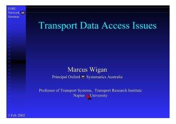 Transport Data Access Issues - Institute for Transport Studies