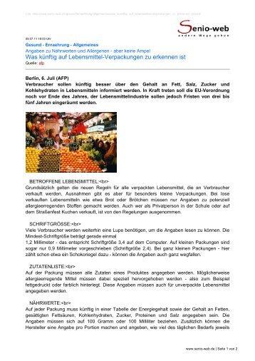 Was künftig auf Lebensmittel-Verpackungen zu ... - Senio-Web