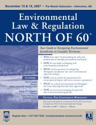 Environmental Law & Regulation NORTH OF 60