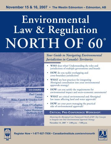Environmental Law & Regulation NORTH OF 60