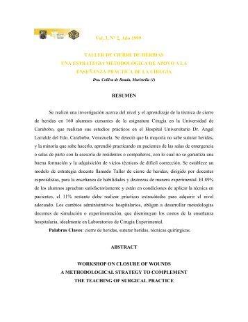 Vol. 3, N° 2, Año 1999 TALLER DE CIERRE DE HERIDAS UNA ...