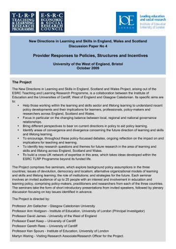 Discussion Paper IV - Teaching and Learning Research Programme