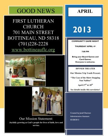 April 2013 Newslette.. - First Lutheran Church