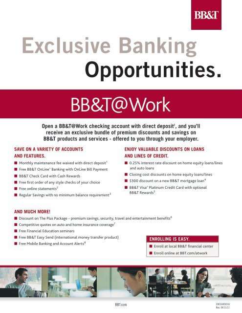 BBT@Work Exclusive Banking Opportunities Flyer - Lake County