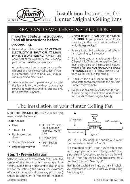 Installation Instructions For Hunter Original Ceiling Fans